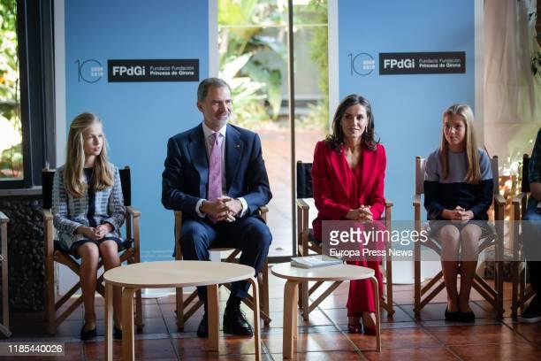 Princess of Asturias, Leonor de Borbon, King Felipe VI, Queen Letizia Ortiz and Infanta Sofia de Borbon, are seen during the presentation of the...
