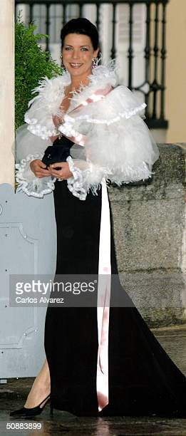 Princess of Hanover Caroline arrives to attend a gala dinner at El Pardo Royal Palace May 21, 2004 in Madrid. Spanish Crown Prince Felipe de Bourbon...