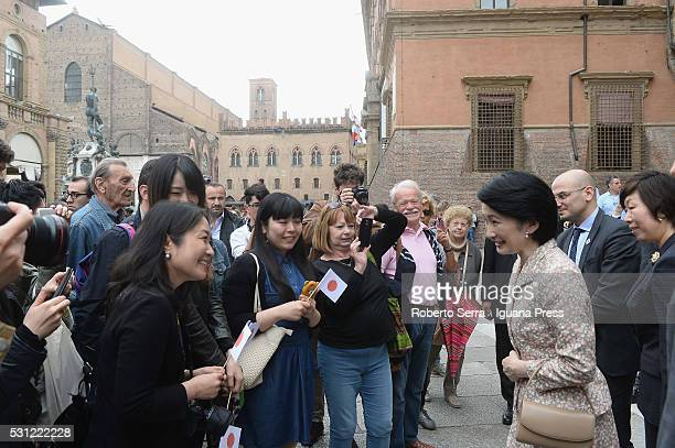 Princess of Japan Kiko greets people at Nettuno square after visiting the Library of Sala Borsa at Palazzo d'Accursio on May 13 2016 in Bologna Italy