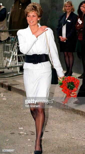 Princess Of Wales Arriving At Mortimer Market Centre A Sexual Health Clinic In London W1 The Princess Is Wearing A White Suit With A Broad Black Belt
