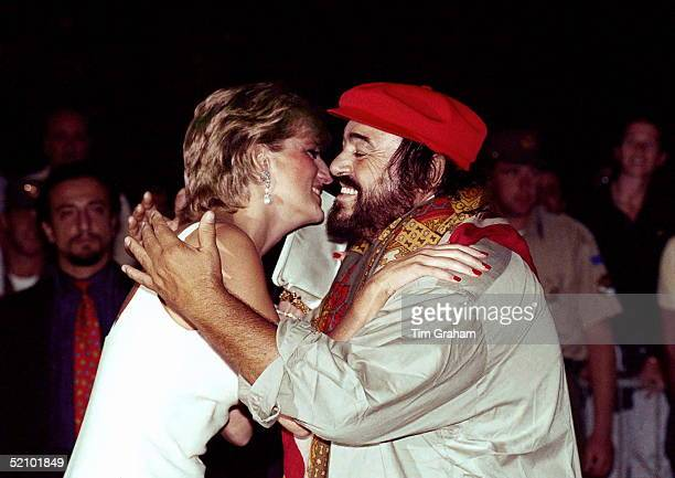 Princess Of Wales Greeted By Pavarotti On Arrival At Concert In Italy To Raise Money For Bosnian Children