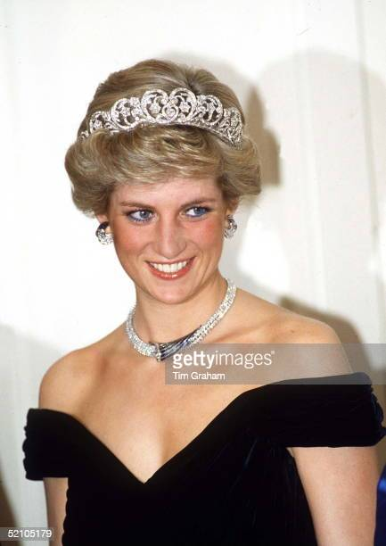 Princess Of Wales In Bonn Germany Wearing Sapphire And Diamond Jewels Which Were A Gift From The Sultan Of Oman With A Dress Designed By Fashion...