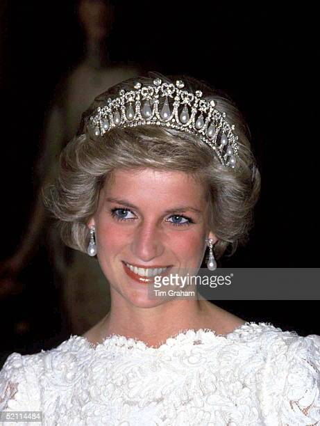 Princess Of Wales Wearing The Cambridge Knot Queen Mary Tiara Of Diamonds And Pearls Given To Her By The Queen At The British Embassy In Washington
