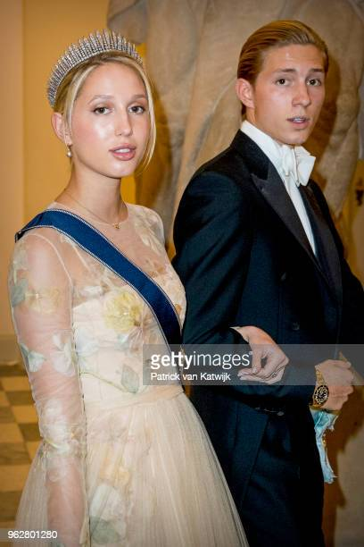Princess Olympia of Greece and Prince AchileasAndreas of Greece during the gala banquet on the occasion of The Crown Prince's 50th birthday at...