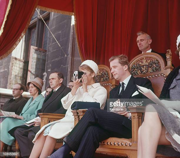 Princess Paola and Prince Albert of Belgium watch the catholic procession of 'Saint Sang' in Bruges, Belgium in 1961.