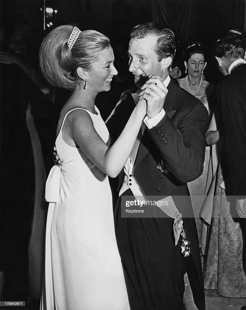 Princess Paola of Belgium (later Queen Paola of Belgium) and Prince Alfred of Belgium dancing during the Waterloo Ball, Brussels, 17th June 1965.