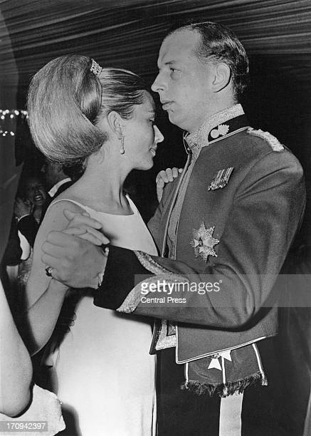 Princess Paola of Belgium and Prince Edward Duke of Kent take to the floor at the 'Battle of Waterloo Ball' being held at the home of Sir Roderick...