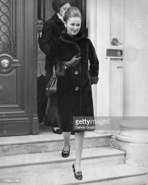 Princess Paola of Belgium leaving the Belgian Embassy to go on a shopping trip in London 17th March 1964