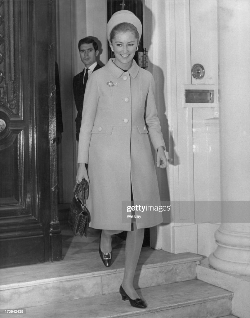 Princess Paola of Belgium (later Queen Paola of Belgium) seen leaving the Belgian Embassy in London to have lunch with Queen Elizabeth II at Buckingham Palace, 25th October 1966.