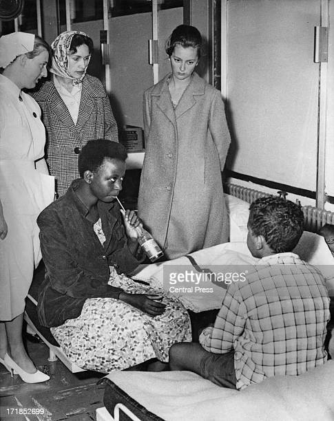 Princess Paola of Belgium visits Congolese refugees who have had to flee their country due to the Congo Crisis Brussels Airport Belgium 14th July 1960