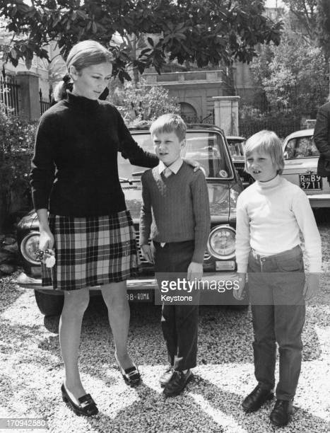 Princess Paola of Belgium with her son Prince Philippe of Belgium and daughter Princess Astrid of Belgium at the home of Princess Paola's mother in...