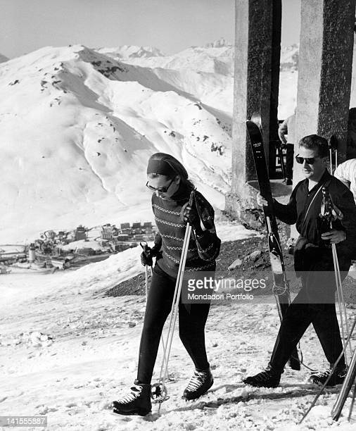 Princess Paola of Calabria and Prince Albert future king and queen of Belgium in the mountains on the ski slopes Sestriere March 1961