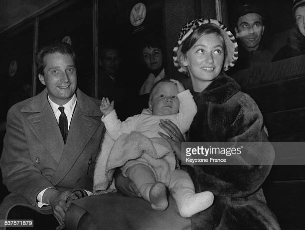 Princess Paola returns with her son Philippe de Paris to meet up with her husband Prince Albert who was waiting for them at the Gare du Midi in 1961...