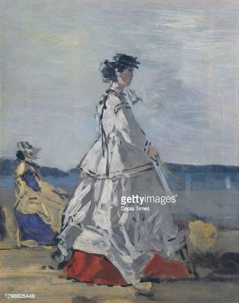 Princess Pauline Metternich on the Beach, ca 1865-67, Oil on cardboard, laid down on wood, 11 5/8 x 9 1/4 in , Paintings, Eug-ne Boudin , Pauline...