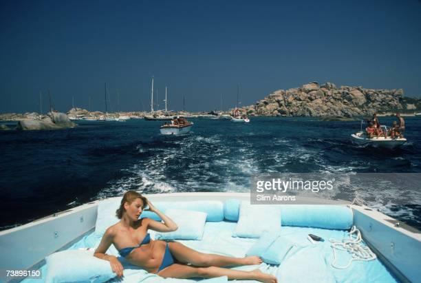 Princess Pia Ruspoli holidays on the exclusive Moritorio Island in Sardinia September 1978