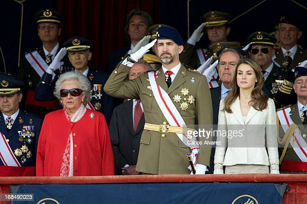 Princess Pilar de Borbon Prince Felipe of Spain and Princess Letizia of Spain attend the Royal Guards Flag ceremony at the El Pardo Palace on May 10...