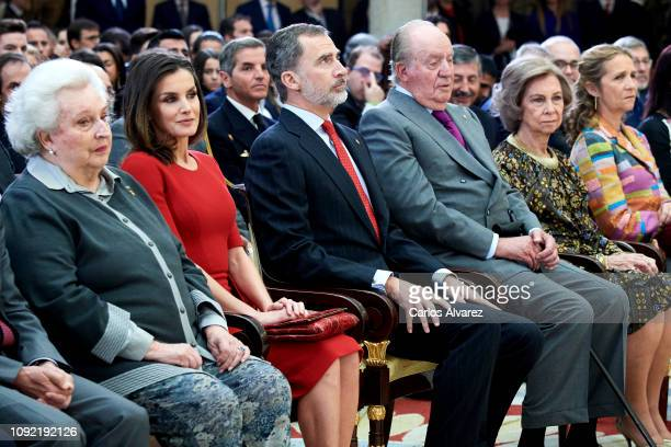 Princess Pilar de Borbon Queen Letizia of Spain King Felipe VI of Spain King Juan Carlos Queen Sofia and Princess Elena of Spain attend the National...