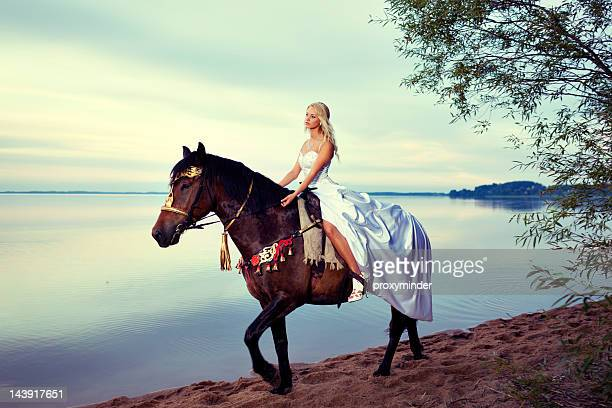 princess riding a horse - evening gown stock pictures, royalty-free photos & images