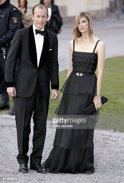 Princess Rosario and Prince Kyrill of Bulgaria arrive for HM King Carl XVI Gustafs private dinner to celebrate his 60th Birthday at Drottningholm...