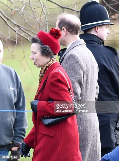 Princess Royal and her husband Sir Timothy Laurenceleave after attending the morning church service at St Mary Magdalene Church in Sandringham Norfolk