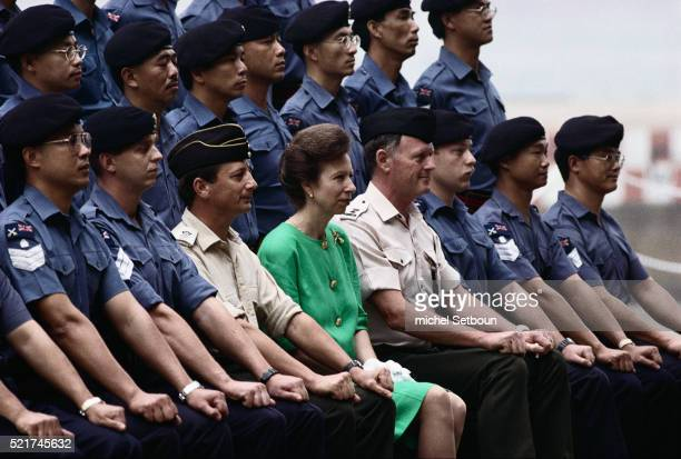 princess royal anne with british sailors in hong kong - princess anne princess royal photos stock pictures, royalty-free photos & images