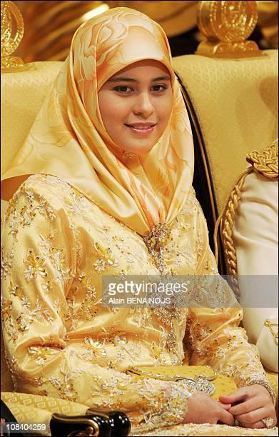 Princess Sarah wife of Crown prince AlMuhtadee Billah Bolkiah of Brunei during a ceremony at the Istana Palace in Bandar Seri Begawan Brunei...