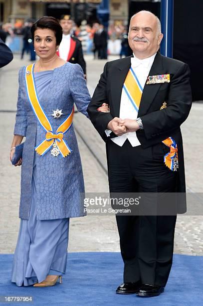 Princess Sarvath El Hassan of Jordan and Prince El Hassan bin Talal of Jordan depart the Nieuwe Kerk to return to the Royal Palace after the...