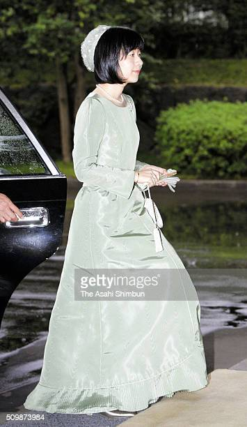 Princess Sayako daughter of Emperor Akihito is seen on arrival to attend the 'KokukinoGi' formal announcement ceremony of the date of the matrimony...