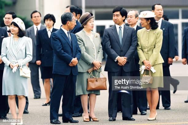 Princess Sayako Prince Mikasa Princess Yuriko of Mikasa Prince Takamado and Princess Hisako of Takamado see off Emperor Akihito and Empress Michiko...