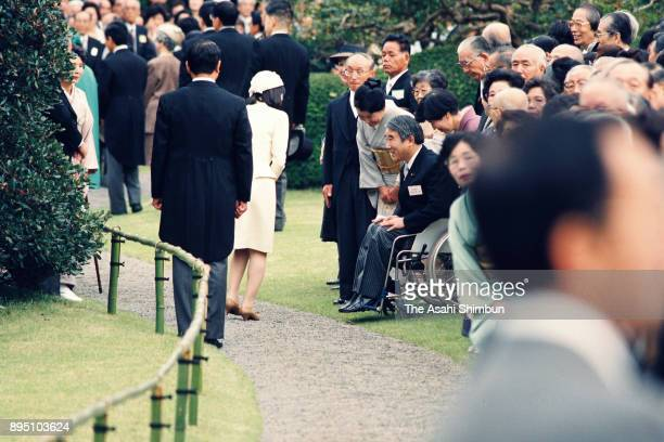 Princess Sayako talks with guests at the Autumn Garden Party at the Akasaka Imperial Garden on October 15 1993 in Tokyo Japan