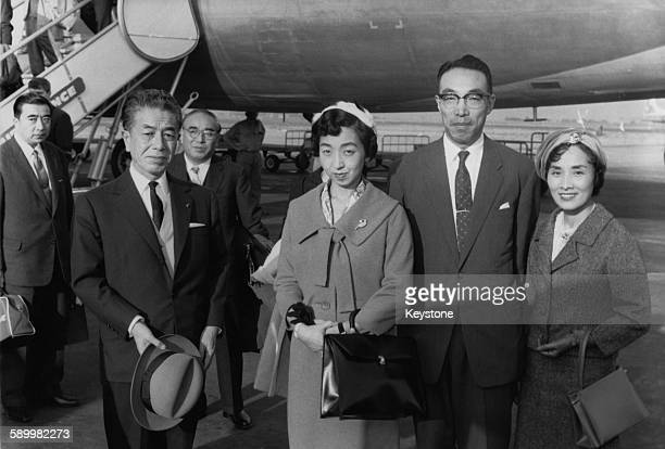 Princess Shigeko Higashikuni eldest daughter of Emperor Hirohito of Japan arrives in Paris France with her husband Prince Morihiro Higashikuni 1st...