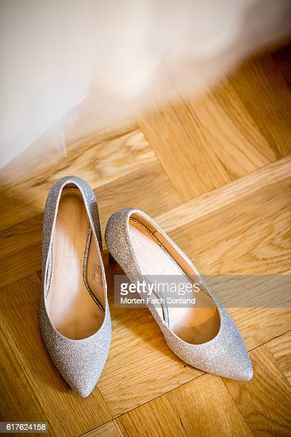 princess shoes - silver shoe stock photos and pictures