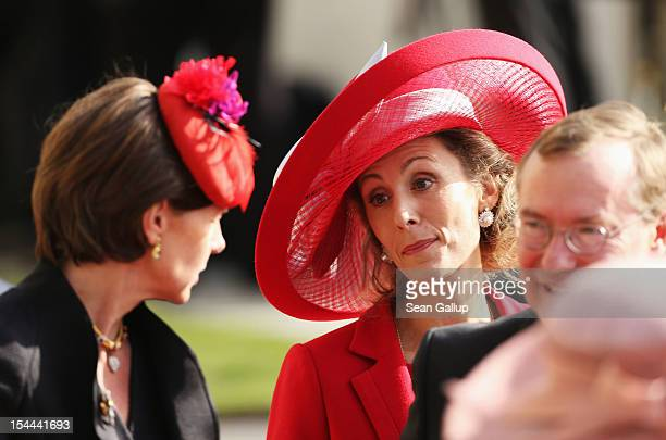Princess Sibilla of Luxembourg attends the wedding ceremony of Prince Guillaume Of Luxembourg and Princess Stephanie of Luxembourg at the Cathedral...