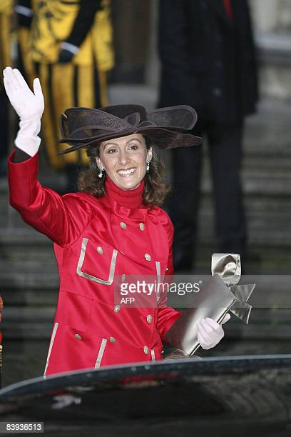 Princess Sibilla of Luxembourg waves on arrival at the Mechelen City Hall for the wedding of Archduchess Maria Christina of Austria and Count...