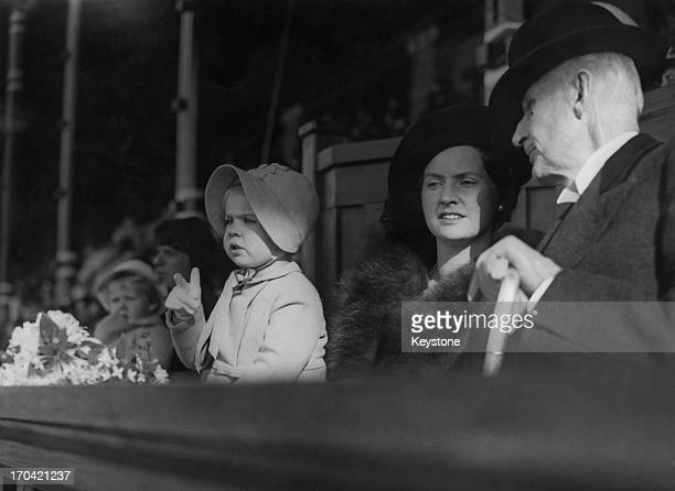 Princess Sibylla of Sweden with her daughter Princess Margaretha of Sweden at the Stockholm Stadium where they attended the 'Children's Day...