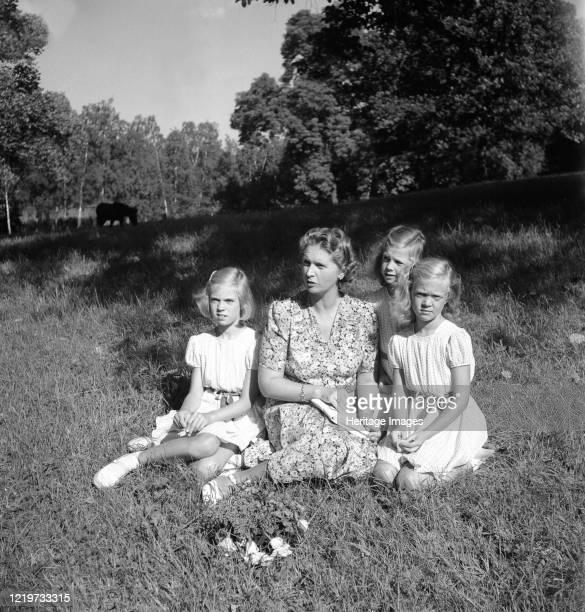 Princess Sibylla with the little princesses in Hagaparken Stockholm Sweden 17/8 1944 Artist Unknown