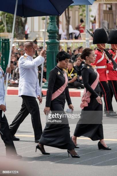 Princess Sirivannavari Nariratana and HRH Princess Bajrakitiyabha Mahidol attend the funereal procession of honour of theri grand father the late...