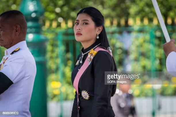 Princess Sirivannavari Nariratana is seen as she attend Thailand's Late King Bhumibol Adulyadej's ashes and relics to be taken to the Dusit Maha...