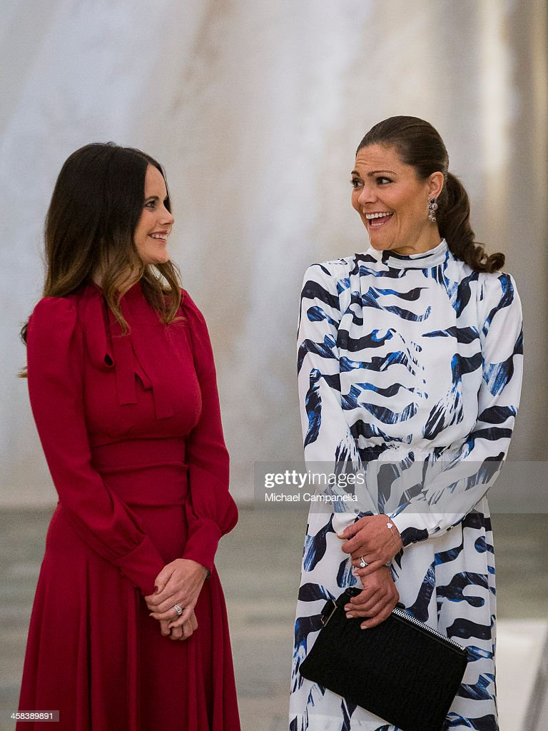 Princess Sofia and Crown Princess Victoria of Sweden attend an exhibition of royal wedding dresses at the Royal Palace on October 17, 2016 in Stockholm, Sweden.