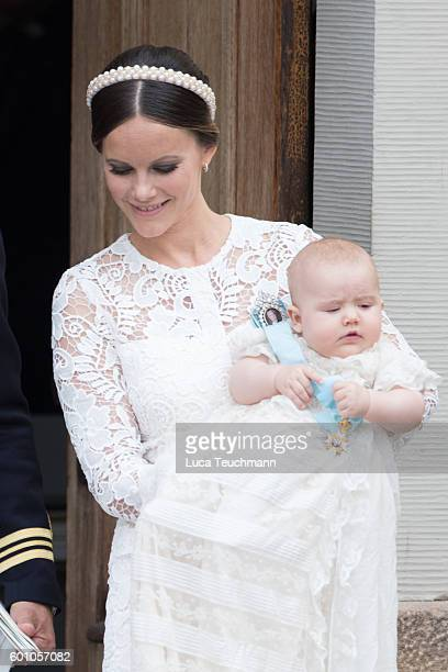 Princess Sofia and Prince Alexander attend the christening of Prince Alexander of Sweden at Drottningholm Palace Chapel on September 9 2016 in...