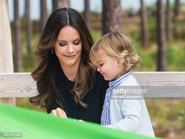 Princess Sofia and Prince Alexander of Sweden attend the inauguration of Prince Alexander's viewpoint at the Nynas Nature Reserve on August 23 2018...