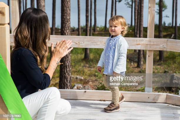 Princess Sofia and Prince Alexander of Sweden attend the inauguration of Prince Alexander's viewpoint at the Nynas Nature Reserve on August 23, 2018...