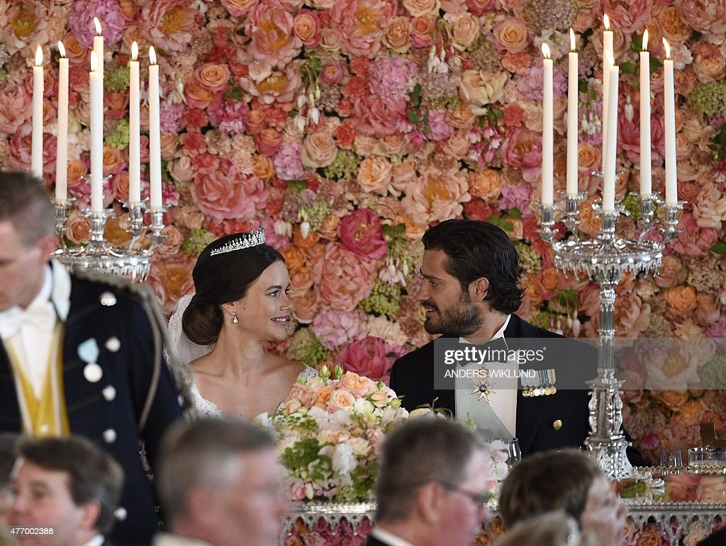 Princess Sofia and Prince Carl Philip attend the wedding dinner in the Royal Palace in Stockholm afterafter their wedding at Stockholm Palace on June 13, 2015.