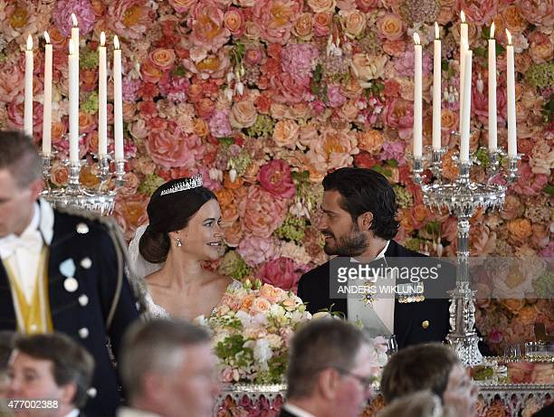 Princess Sofia and Prince Carl Philip attend the wedding dinner in the Royal Palace in Stockholm afterafter their wedding at Stockholm Palace on June...