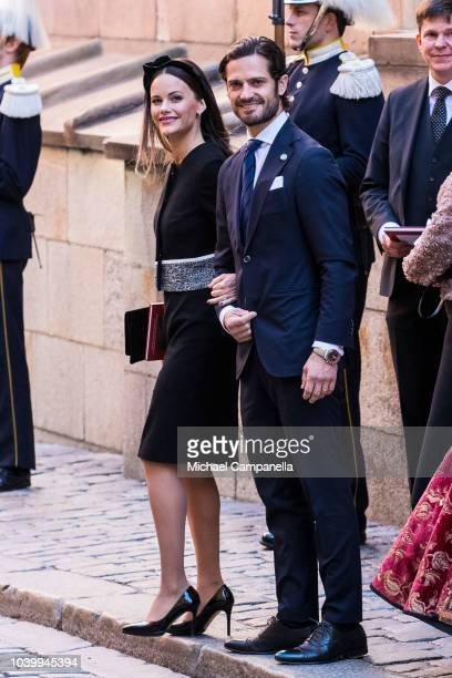 Princess Sofia and Prince Carl Phillip of Sweden attend a church service at the Stockholm Cathedral in connection with the opening of the Swedish...