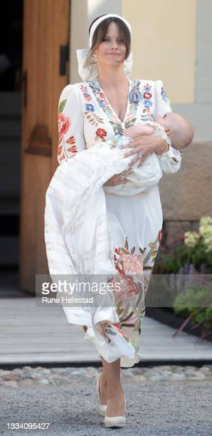 Princess Sofia and Prince Julian attend Prince Julian's baptism outside Drottningholm Castle Chapel on August 14, 2021 in Stockholm, Sweden.