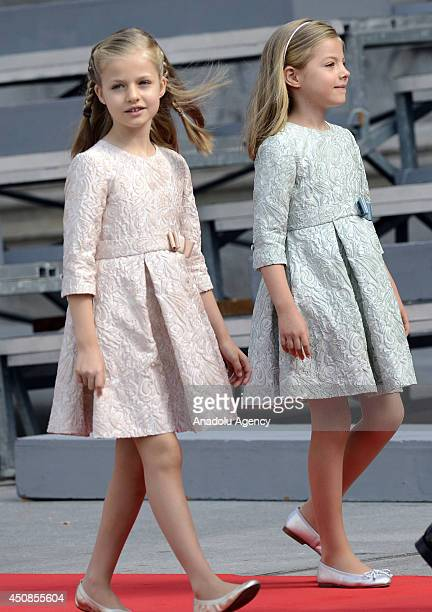 Princess Sofia and Princess Leonor arrive to parliament during the swearing-in ceremony of Spain's new king Felipe VI on June 19 in Madrid, Spain.