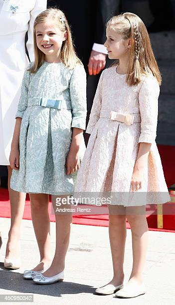 Princess Sofia and Princess Leonor Princess of Asturias smile as they leave the Congress of Deputies during the King's official coronation ceremony...