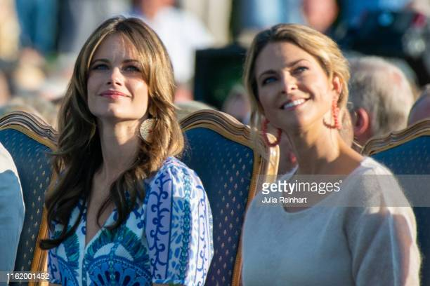 Princess Sofia and Princess Madeleine attend The Crown Princess Victoria of Sweden's 42nd birthday celebrations on July 14, 2019 at Borgholm's...