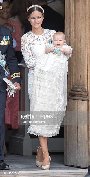 Princess Sofia attend the christening of Prince Alexander of Sweden at Drottningholm Palace Chapel on September 9 2016 in Stockholm Sweden